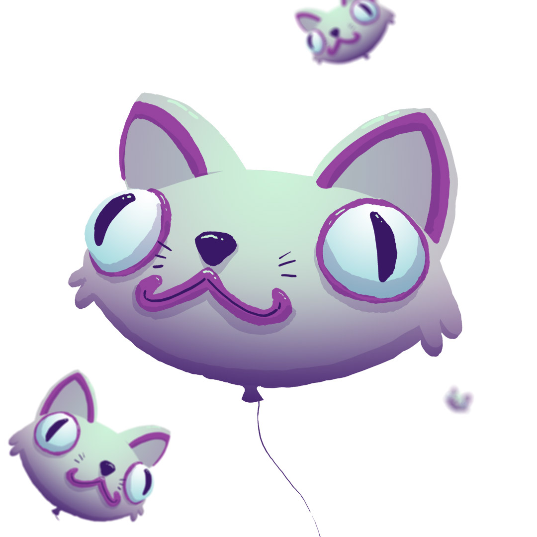 Cat Balloons floating through the sky