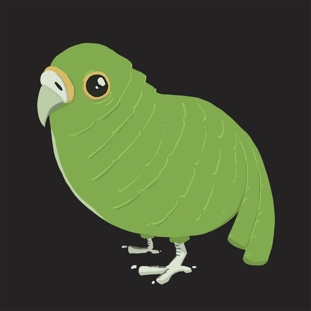 Character design for a small green bird - August 21st 2019