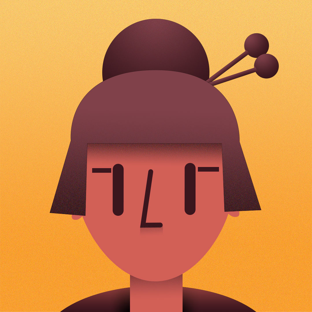 Vector illustration of a traditional Japanese girl
