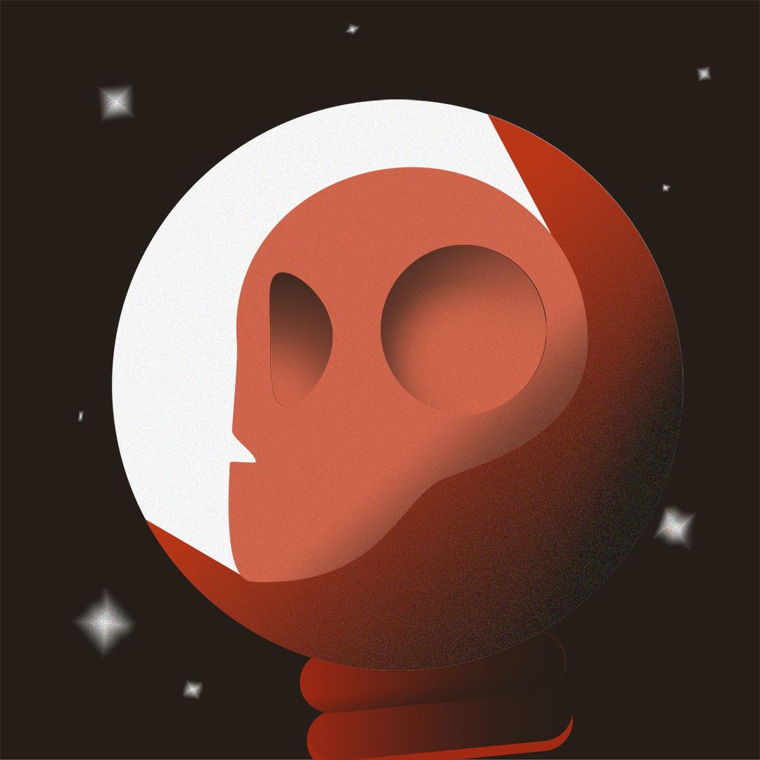 Skeleton in spacesuit